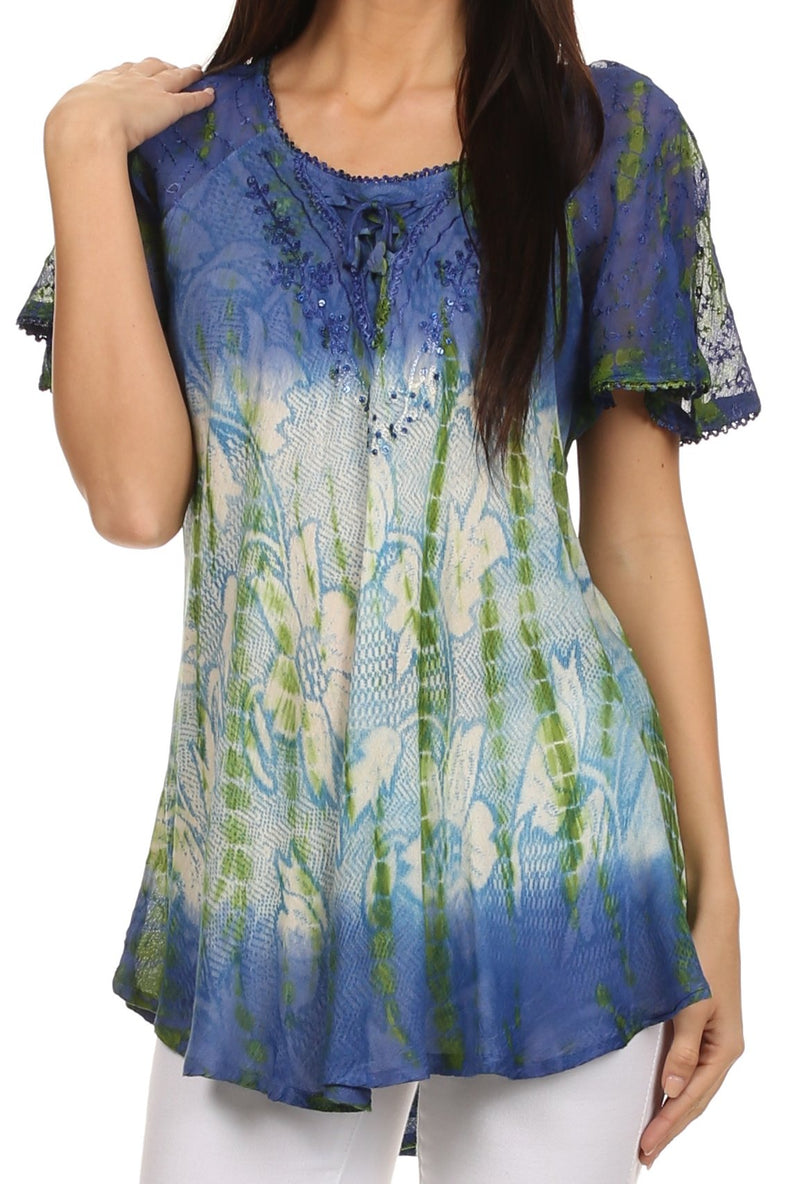 Sakkas Dina Relaxed Fit Sequin Tie Dye Embroidery Cap Sleeves Blouse//Top
