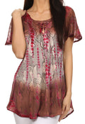 Sakkas Dina Relaxed Fit Sequin Tie Dye Embroidery Cap Sleeves Blouse / Top#color_Brown / Beige