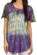 Sakkas Dina Relaxed Fit Sequin Tie Dye Embroidery Cap Sleeves Blouse / Top#color_Purple / Beige