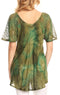 Sakkas Juniper Short Sleeve Lace Up Tie Dye Blouse with Sequins and Embroidery#color_Avocado