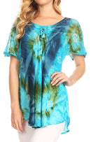 Sakkas Juniper Short Sleeve Lace Up Tie Dye Blouse with Sequins and Embroidery
