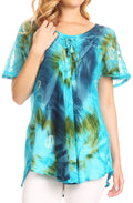 Sakkas Juniper Short Sleeve Lace Up Tie Dye Blouse with Sequins and Embroidery#color_Blue / Turquoise