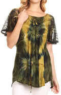 Sakkas Juniper Short Sleeve Lace Up Tie Dye Blouse with Sequins and Embroidery#color_Olive Green