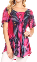 Sakkas Juniper Short Sleeve Lace Up Tie Dye Blouse with Sequins and Embroidery#color_Pink / Navy