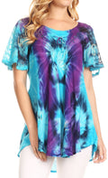 Sakkas Juniper Short Sleeve Lace Up Tie Dye Blouse with Sequins and Embroidery#color_Turq / Purple
