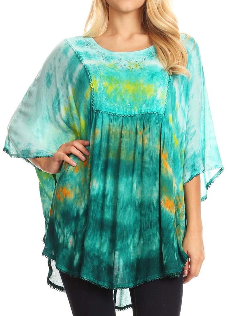 Sakkas Lepha Long Wide Multi Colored Tie Dye Sequin Embroidered Poncho Top Blouse