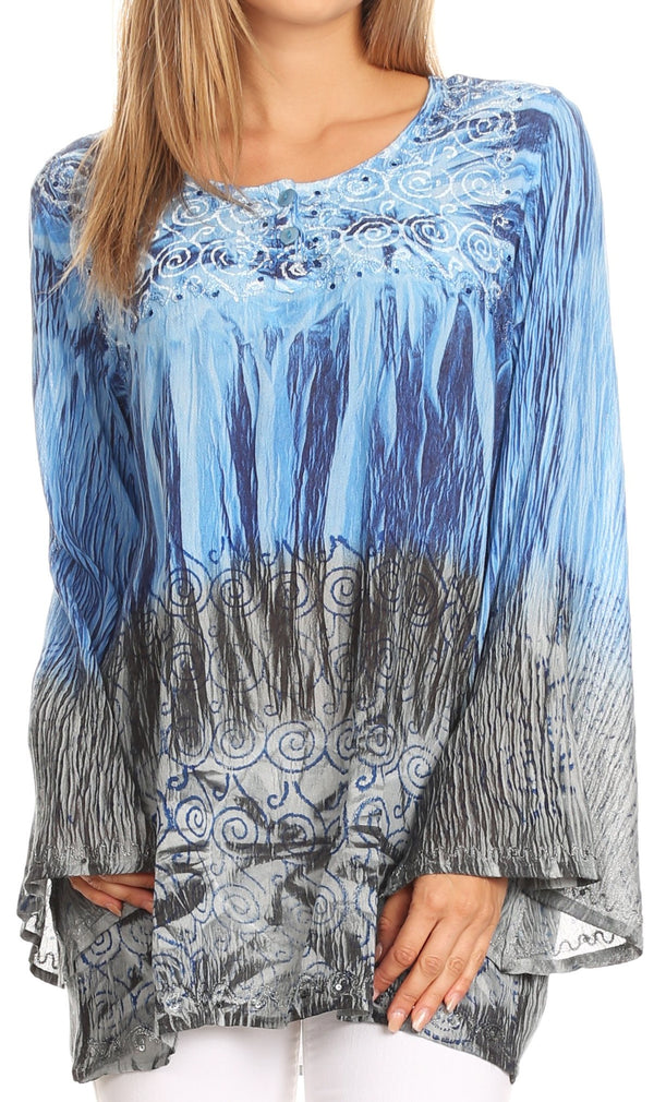 Sakkas Janel Long Bell Sleeve Tie Dye Blouse with Sequins and Embroidery#color_Blue / Black