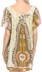 Sakkas Brinks Caftan Cap Sleeve Blouse Top Cover Up With Tribal And Floral Print