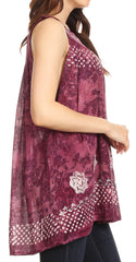 Sakkas Deja Embroidered Batik Scoop Neck Relaxed Fit Sleeveless Blouse
