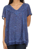 Sakkas Charolette Embroidery And Seqiun Accents Blouse#color_Navy