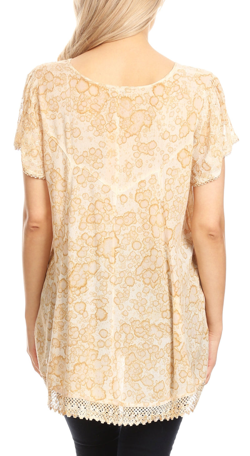 Sakkas Charolette Embroidery And Seqiun Accents Blouse