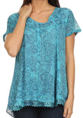 Sakkas Charolette Embroidery And Seqiun Accents Blouse#color_Turquoise