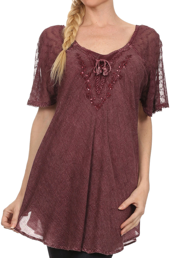 Sakkas Ellie Sequin Embroidered Cap Sleeve Scoop Neck Relaxed Fit Blouse#color_Burgandy