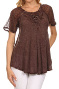 Sakkas Ellie Sequin Embroidered Cap Sleeve Scoop Neck Relaxed Fit Blouse#color_Chocolate