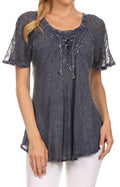 Sakkas Ellie Sequin Embroidered Cap Sleeve Scoop Neck Relaxed Fit Blouse#color_Denim Blue