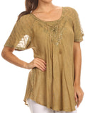Sakkas Ellie Sequin Embroidered Cap Sleeve Scoop Neck Relaxed Fit Blouse#color_Light Brown