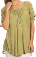 Sakkas Ellie Sequin Embroidered Cap Sleeve Scoop Neck Relaxed Fit Blouse#color_Olive