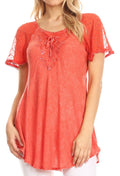 Sakkas Ellie Sequin Embroidered Cap Sleeve Scoop Neck Relaxed Fit Blouse#color_Pink