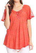 Sakkas Ellie Sequin Embroidered Cap Sleeve Scoop Neck Relaxed Fit Blouse#color_Salmon