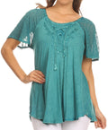 Sakkas Ellie Sequin Embroidered Cap Sleeve Scoop Neck Relaxed Fit Blouse#color_Teal