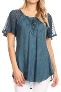 Sakkas Ellie Sequin Embroidered Cap Sleeve Scoop Neck Relaxed Fit Blouse#color_Teal Blue