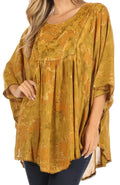 Sakkas Cleeo Long Wide Tie Dye Lace Embroidered Sequin Poncho Blouse Top Cover Up#color_Olive