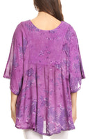 Sakkas Cleeo Long Wide Tie Dye Lace Embroidered Sequin Poncho Blouse Top Cover Up