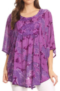 Sakkas Cleeo Long Wide Tie Dye Lace Embroidered Sequin Poncho Blouse Top Cover Up#color_Purple
