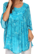 Sakkas Cleeo Long Wide Tie Dye Lace Embroidered Sequin Poncho Blouse Top Cover Up#color_Turquoise