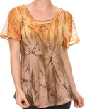 Sakkas Taylay Ombre Tie Dye Batik Long Embroidered Corset Neck Blouse Shirt Top#color_Brown