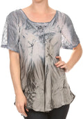 Sakkas Taylay Ombre Tie Dye Batik Long Embroidered Corset Neck Blouse Shirt Top#color_Grey