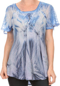 Sakkas Taylay Ombre Tie Dye Batik Long Embroidered Corset Neck Blouse Shirt Top#color_Indigo