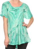 Sakkas Taylay Ombre Tie Dye Batik Long Embroidered Corset Neck Blouse Shirt Top#color_Seafoam