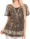 Sakkas Ash Speckled Tiedye Embroidered Cap Sleeve Blouse Top With Embroidery Hems#color_Black