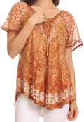 Sakkas Ash Speckled Tiedye Embroidered Cap Sleeve Blouse Top With Embroidery Hems#color_Brown
