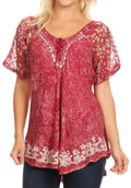 Sakkas Ash Speckled Tiedye Embroidered Cap Sleeve Blouse Top With Embroidery Hems#color_Brown / Burg