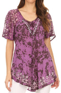 Sakkas Ash Speckled Tiedye Embroidered Cap Sleeve Blouse Top With Embroidery Hems#color_Light Purple