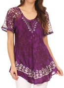 Sakkas Ash Speckled Tiedye Embroidered Cap Sleeve Blouse Top With Embroidery Hems
