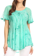 Sakkas Hana Tie Dye Relaxed Fit Embroidery Cap Sleeves Peasant Batik Blouse / Top#color_Aqua