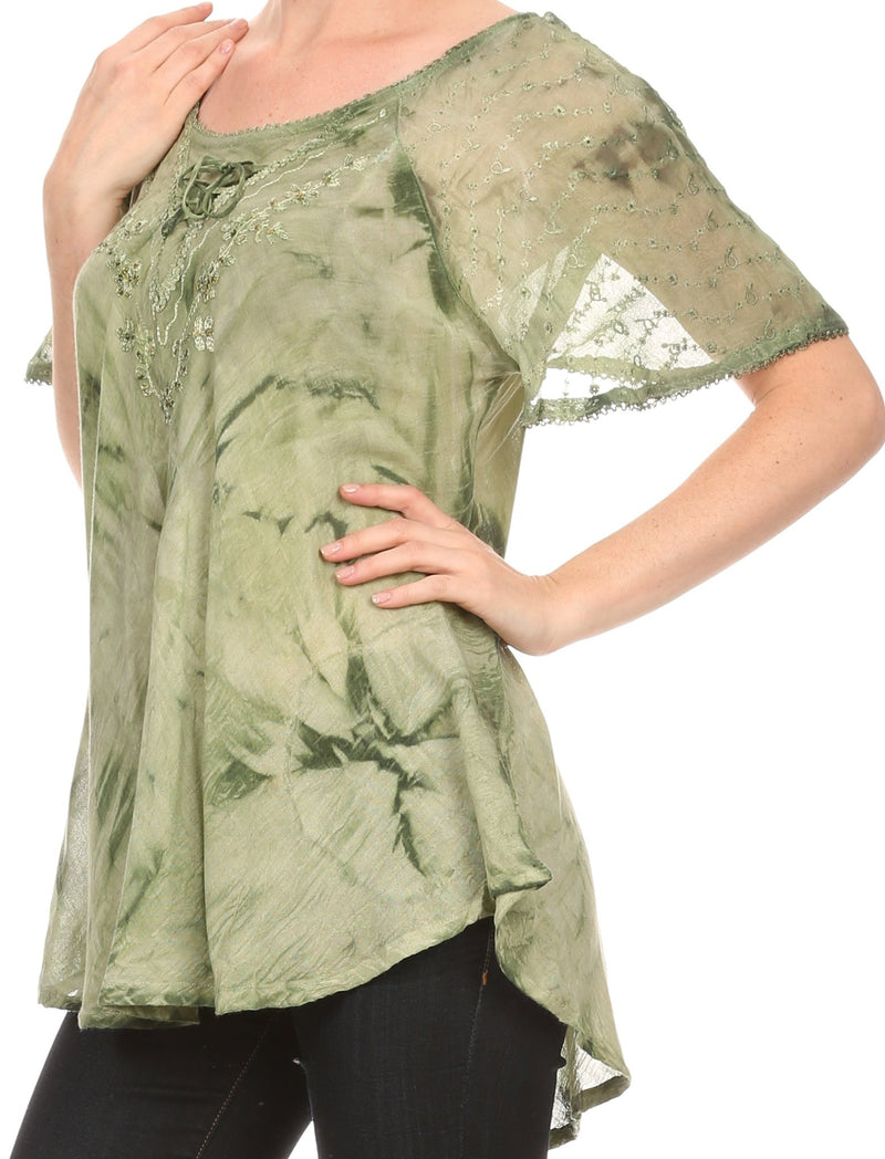 Sakkas Hana Tie Dye Relaxed Fit Embroidery Cap Sleeves Peasant Batik Blouse / Top