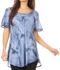 Sakkas Hana Tie Dye Relaxed Fit Embroidery Cap Sleeves Peasant Batik Blouse / Top#color_Blue
