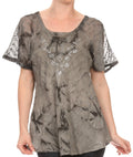 Sakkas Hana Tie Dye Relaxed Fit Embroidery Cap Sleeves Peasant Batik Blouse / Top#color_Grey