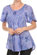 Sakkas Hana Tie Dye Relaxed Fit Embroidery Cap Sleeves Peasant Batik Blouse / Top#color_Lilac