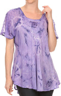 Sakkas Hana Tie Dye Relaxed Fit Embroidery Cap Sleeves Peasant Batik Blouse / Top#color_Purple