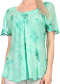 Sakkas Hana Tie Dye Relaxed Fit Embroidery Cap Sleeves Peasant Batik Blouse / Top#color_Sea Green