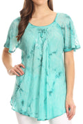 Sakkas Hana Tie Dye Relaxed Fit Embroidery Cap Sleeves Peasant Batik Blouse / Top#color_Teal