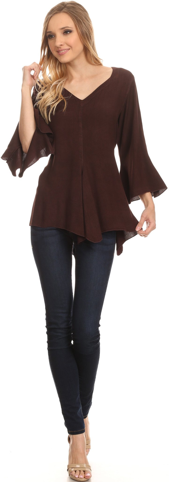 Sakkas Geena Long Tall V Neck 3/4 Length Bell Sleeve With Adjustable Side Straps