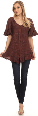 Sakkas Sayle Long Star Embroidered Blouse Shirt Top With Button Front And Ruffles