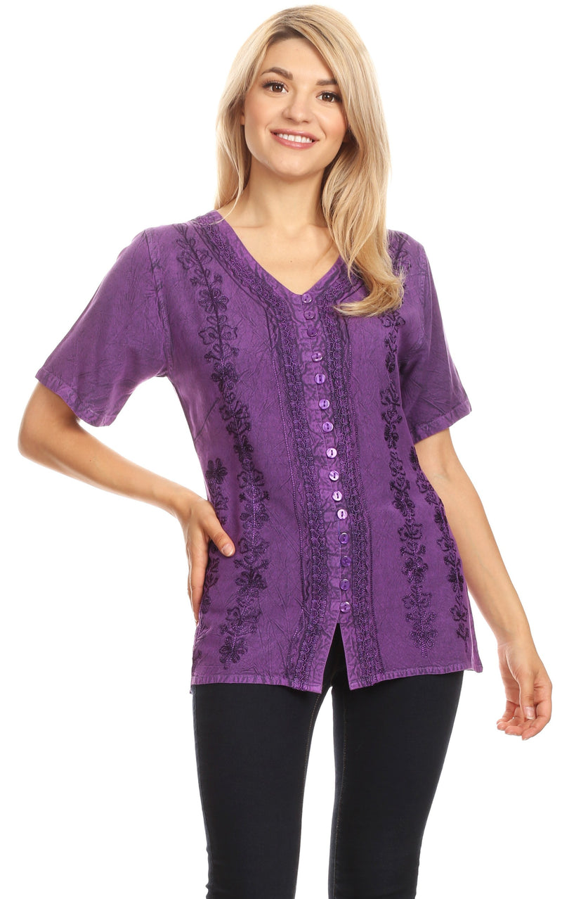 Sakkas Estella Womens Short Sleeve V neck Button Down Top Blouse with Embroidery