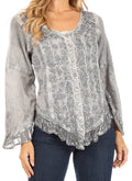 Sakkas Aura Womens Casual Ruffle Flare Crop Top Blouse Long Sleeves w/Embroidery#color_Charcoal